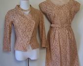 PAUL SACHS vintage late 40s copper lace dress jacket suit SM