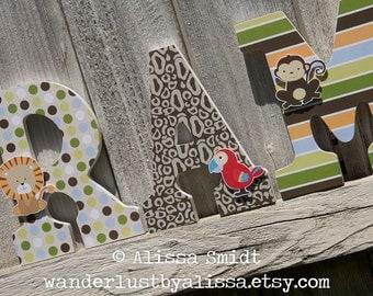 Treetop Buddies Custom Wooden Letters, Baby Nursery - Jungle Animal Theme Custom Letters, Designed to Match Treetop Buddies Nursery Bedding