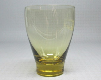 Russel Wright glass American Modern , Morgantown , one juice glass chartreuse