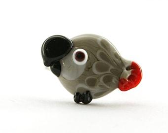Glass lampwork African grey parrot / bird adjustable silver ring