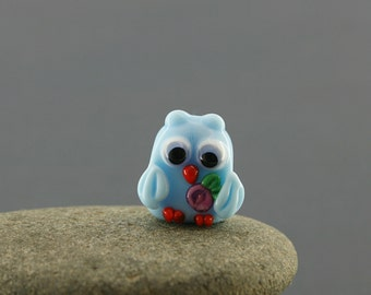 Owl charm bead necklace sculpture miniature figurine glass Lampwork big large hole, owl jewelry,owl pendant european bracelet  fairy garden