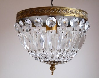 Adjusted Bulbs US beautiful French Vintage  Crystal pendants Ceiling Light - Paris apartment - crystal prisms - French Vintage Ceiling Lamp