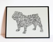 """The English Bulldog - Story of the british dog inside the silouhette - dog breed  - Hand signed - 8"""" 12"""" 16"""" 24 inches - A4 - A3 - A2 - A1"""