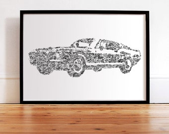 The Ford Mustang - History of the legendary car inside the Silouhette - Hand signed - large format poster - Fine Art Print - bullit