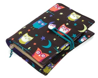 Fabric Book Cover, Handmade Bible Cover, Night Owls, UK Seller