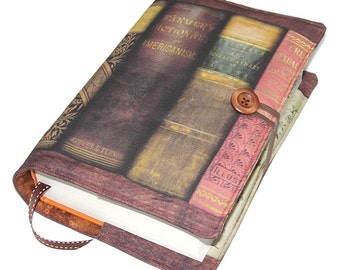 Large Bible Cover, Antique American Books fabric, Handmade Book Cover, Design DD, UK Seller