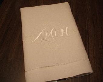 Linen Towel: Amen