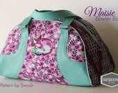 Swoon Maisie Bowler Bag Handbag purse done in Tula Pink Chipper Fox Nap in purple and aqua