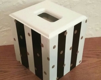 Black and White Tissue Box Cover - Striped Tissue Holder - Striped box - Polka Dot Tissue Holder - Gold Dots - Wooden Tissue Box