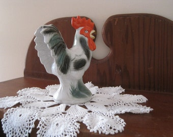 Ceramic Rooster - Country Farmhouse -  Vintage Brazilian Pottery Figurine