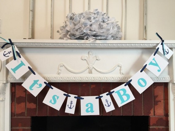 ahoy its a boy baby shower decor nautical baby shower garland