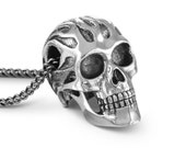"""Flaming Skull Necklace - Antique Silver Flaming Skull Pendant on 24"""" Gunmetal Chain"""