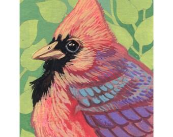 Cardinal Bird Art Print - Watercolor Painting Print - Bird Wall Art - Woodland Home Decor - Colorful Art