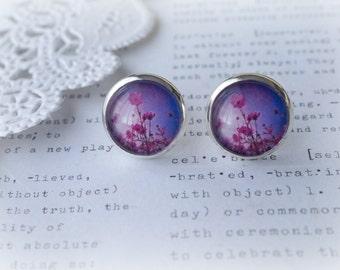 Round Glass Purple Wildflower Stud Earrings