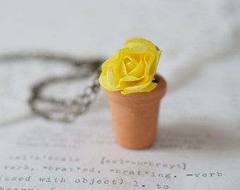 Clay Flowerpot Necklace with Yellow Flower