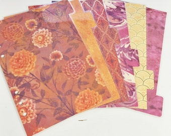 A5 Sized Laminated Dividers Orange Purple Pink Yellow Gold Patterned Dividers Filofax A5 Large Kikki-k Planner Tabbed Dividers