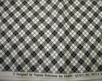 "Fabric Destash, Black and white check fabric, Quilting Fabric, Fabric, 42"" by 54"""