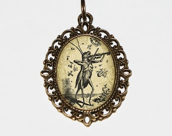 Violin Grasshopper Necklace, Fiddle Jewelry, Musical Insect, Oval Pendant