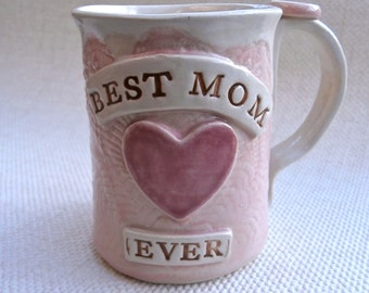 Pink and off white Mug for Mom - Made to order stoneware cup for Mum