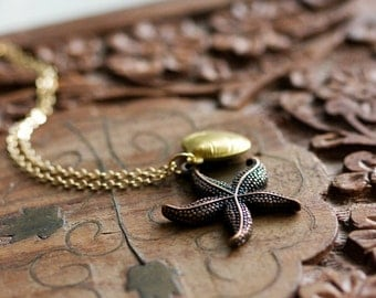 Sea Shell Starfish Necklace Ocean Nautical Necklace Starfish Pendant Sea Life Beach Jewelry - N227