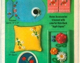 Simplicity 6805 Vintage 1960's Design -Rick-Rack 'Embroidery' Pillow, Placemat, Napkin Pattern - 1966- One Size - Uncut