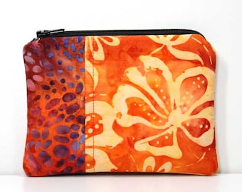 Orange and Red Batik Coin Purse  Little Zipper Pouch, Little Pouch, Small Gadget Case, Small Wallet.  Business Card Holder, Small Zipper Bag