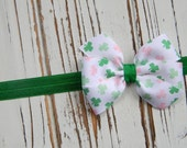 St. Patricks Day Bow Headband, St. Patricks Day Headband, Clover Bow Headband, St. Patrick's Day Baby Headband