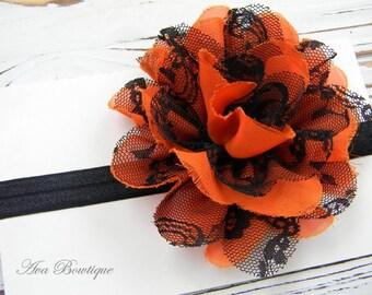 Halloween Chiffon Headband - Baby Headband - Toddler Headband - Black Glitter Headband