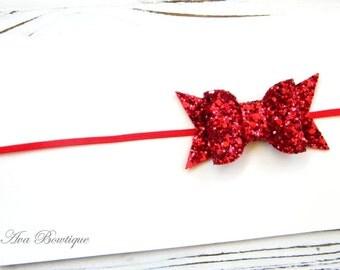 Red Bow Headband - Baby Bow Headband - Glitter Bow Headband - Red Glitter Bow Headband - Christmas Bow Headband - Valentine Bow Headband