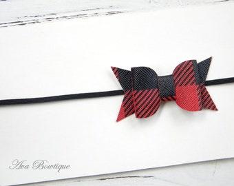 Baby Bow Headband - Plaid Bow Headband - Fall Bow Headband - Newborn Bow Headband - Christmas Bow Headband - Buffalo Plaid Headband