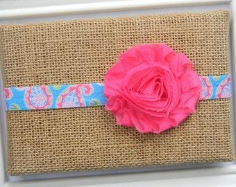 Hot Pink Chiffon Headband - Baby Chiffon Headband - Pink Paisley Headband - Pink Flower Headband
