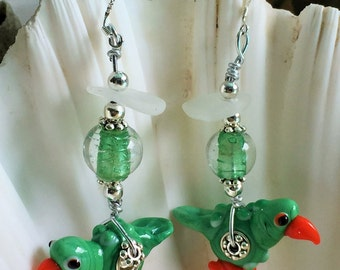 Handmade Sea Glass Parrot Earrings made with white real sea glass and a hand blown Murano Glass Lampwork Parrot Bead 925 Sterling ear wires