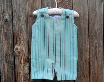 Easter Outfit, Turquoise and Brown Striped Jon Jon, Romper...eco-friendly...3M-6M-9M-12M-18M-2T-3T