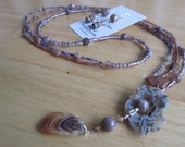 Agate Geode Slab Lariat Necklace and Earring Set Natural Stone Jewelry  Botswana Agates Hammered Copper Long Multi-strand