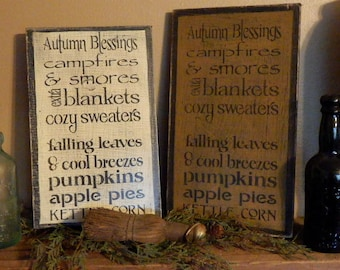 PriMiTiVe - - AuTuMn BLessInGs WoRd PlaY - - HandpAinTeD DisTreSSED  WooDen SiGn - You ChooSe CoLoR