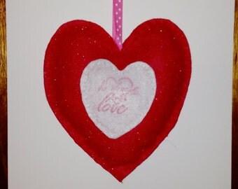 Valentine heart, scented heart, handmade heart, felt heart, valentine's gift,  home decor,  handmade with love heart, glitter felt heart.