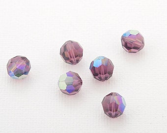 Swarovski crystal 8mm beads small packaging 6 pc. Amethyst (204) AB 5000