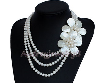 3 Strand  Natural Freshwater Pearl  shell Flower Necklace, wedding gift  Statement Necklace