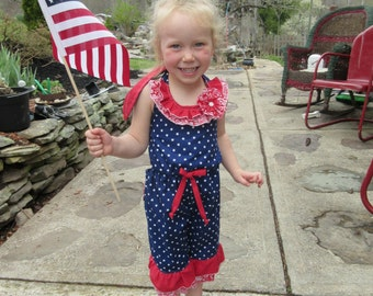 Girls nautical jump suit,  patriotic Girls sunsuit,  memorial day, forth of July,  available to order 2t, 3t, 4t, 5t