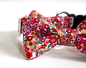 Floral Polar Bear Bow Tie Dog Collar - red