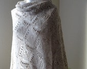 SALE Hand knit lace shawl , tan, light brown, beige lace shawl, Queen Silvia pattern READY TO ship