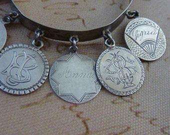 ANTIQUE VICTORIAN sterling love token COIN bangle bracelet