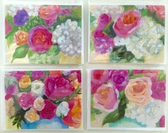 FIne art notecards: Floral series bland notecards, art cards, floral paintings, gifts, paper