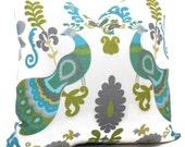 Turquoise and Green Peacock Decorative Pillow Cover, 18x18, 20x20, 22x22, Eurosham  Throw Pillow, Accent Pillow, Toss Pillow