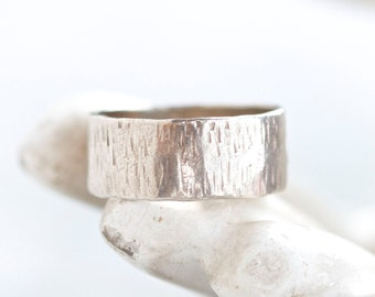 """Sterling Silver Wedding Band - Wide Ring Size 7.5"""" - Ca 1970s"""