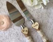 Rustic Cake Knife Set, Wedding Accessory, Burlap Cake Knife Set, Lace Wedding Knife & Server Set, Engraved Cake Knife Set,Ivory lace