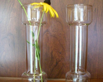 Vintage Pyrex Glass Dumbbell Vase Candleholder Un-Candle Set of Two