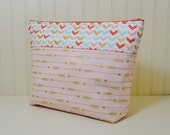 Golden Arrows Cosmetic Bag - Colorful Chevrons Makeup Bag - Large Stand up Toiletries Zipper Pouch - Craft Project Bag - Pink Coral Mint
