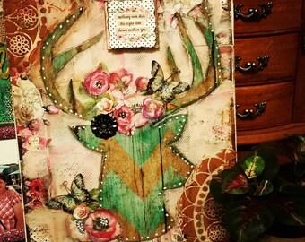Blooming pink deer original mixed media art
