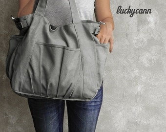 Winter Sale 15%off IRIS // Dark Grey / Lined with Beige / 051 // Ship in 3 days // Messenger / Diaper bag / Shoulder bag / Tote bag / Purse